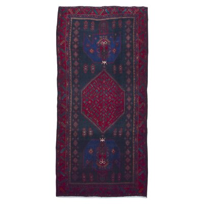 One-of-a-Kind Breonna Traditional Hamadan Hand-Woven Wool Red  Area Rug