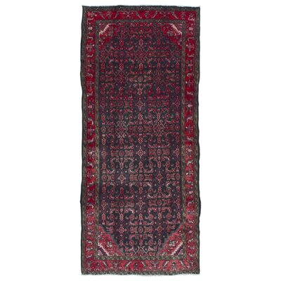 One-of-a-Kind Breonna Hamadan Hand-Woven Runner Wool Red Area Rug
