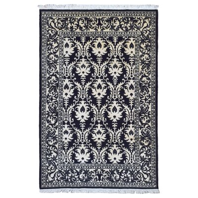One-of-a-Kind Caravelle Modern Design Hand-Woven Wool Black/Ivory Area Rug