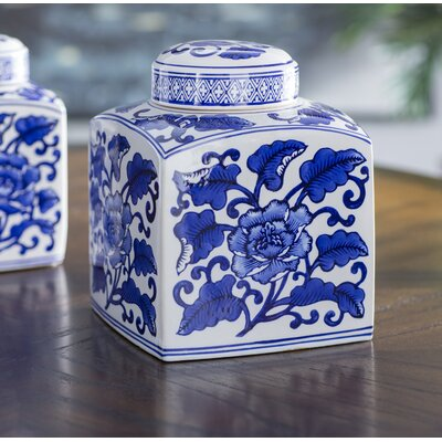 White/Blue Ceramic Decorative Box Size: Large