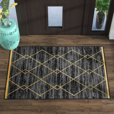 Vathylakas Diamond Trellis Black/Yellow Area Rugs Rug Size: 33 x 5