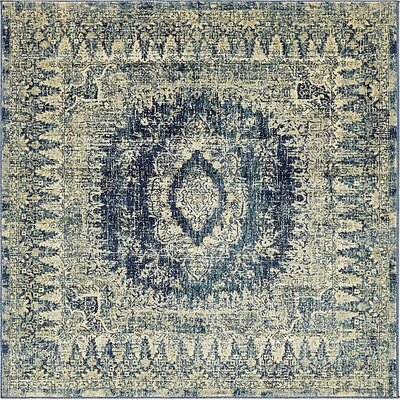 Jae Eclectic Navy Blue Area Rug Rug Size: Square 6