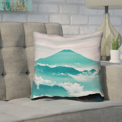 Enciso Fuji Square Outdoor Throw pillow Size: 18 H x 18 W, Color: Green