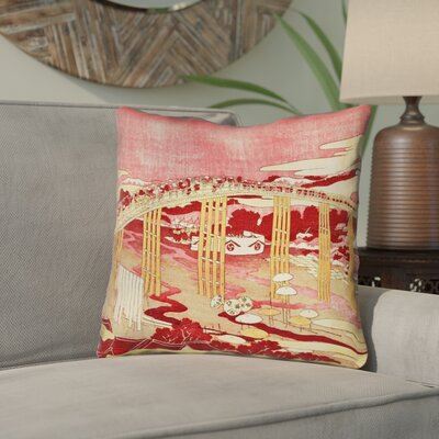 Enya Japanese Bridge Linen Throw Pillow Color: Red/Orange, Size: 16 x 16
