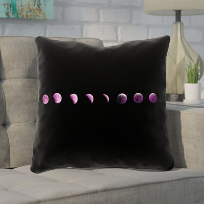 Enciso Moon Phase Throw Pillow Color: Purple, Size: 18 x 18