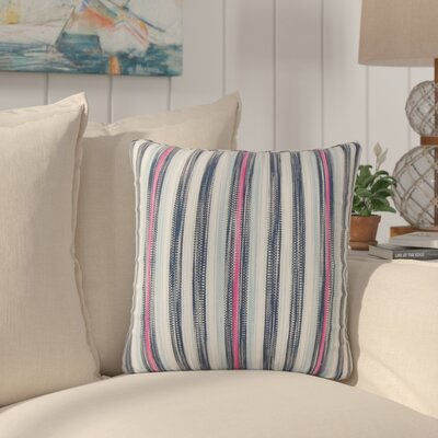 Mary-Kate Striped Down Filled 100% Cotton Throw Pillow Size: 18 x 18, Color: Blue