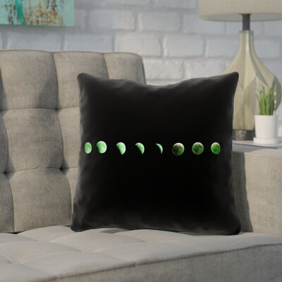 Enciso Moon Phases Outdoor Throw Pillow Color: Green, Size: 18 x 18