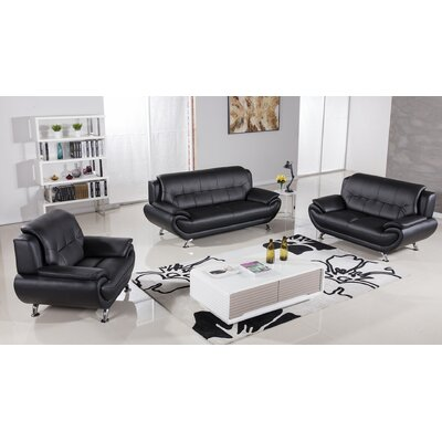 Hennings 3 Piece Living Room Set Color: Black