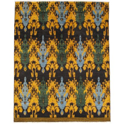 Burdell Hand-Knotted Wool Black/Gold Area Rug