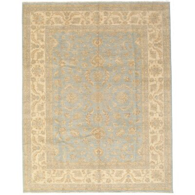 Galiana Hand-Knotted Wool Ice Blue/Beige Area Rug