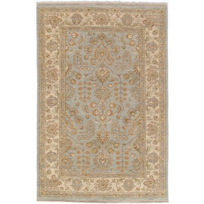 Garey Hand-Knotted Wool Ice Blue/Beige Area Rug