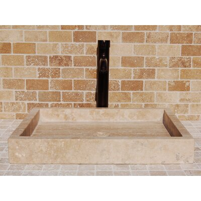Honed Travertine Stone Rectangular Vessel Bathroom Sink