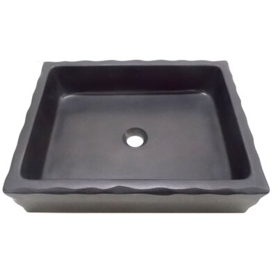 Honed Antique Lava Stone Rectangular Vessel Bathroom Sink