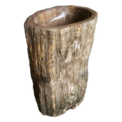 Natural Petrified Wood Stone 28 Pedestal Bathroom Sink