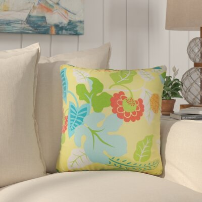 Cole Floral Outdoor Throw Pillow Color: Lemon, Size: 18 x 18