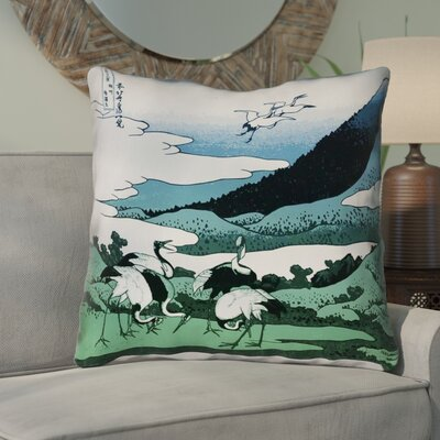 Montreal Japanese Cranes Outdoor Throw Pillow Size: 16 x 16 , Pillow Cover Color: Blue/Green