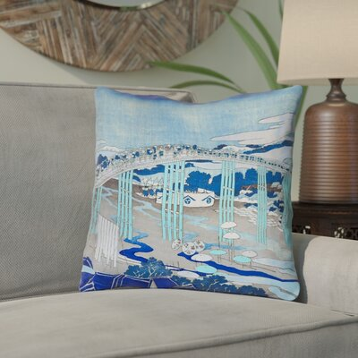 Enya Japanese Bridge Double Sided Print Throw Pillow Color: Blue, Size: 26 x 26