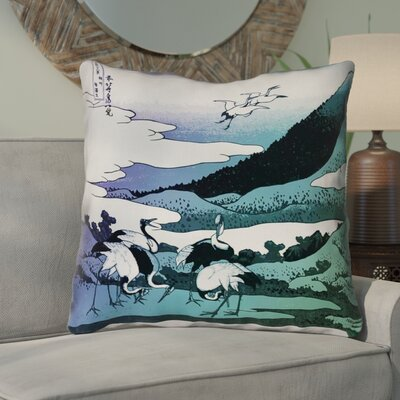 Montreal Japanese Cranes Outdoor Throw Pillow Size: 16 x 16 , Pillow Cover Color: Purple/Green