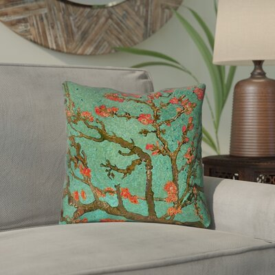 Lei Almond Blossom Outdoor Throw Pillow Color: Green/Red, Size: 18 x 18
