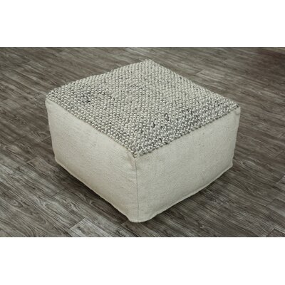 Easton Pouf Upholstery: Gray/White