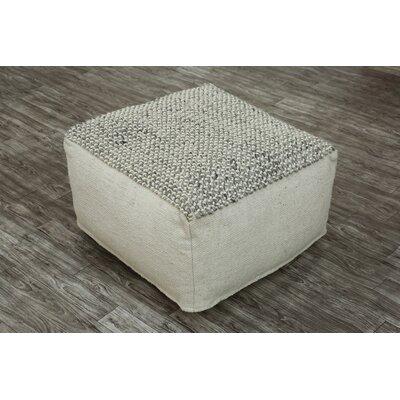 Easton Pouf Ottoman Upholstery: Gray/White