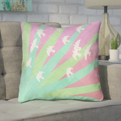 Enciso Birds and Sun Square Throw Pillow Color: Green/Pink, Size: 14 x 14