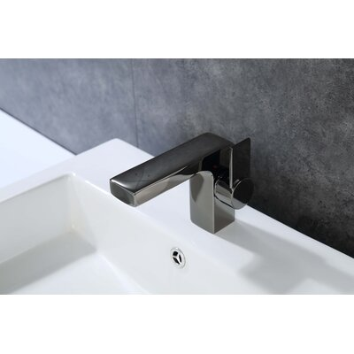 Single Hole Single Handle Bathroom Faucet with Drain Assembly Finish: Glossy Black
