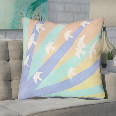 Enciso Birds and Sun Throw Pillow with Zipper Color: Blue/Orange, Size: 20 x 20