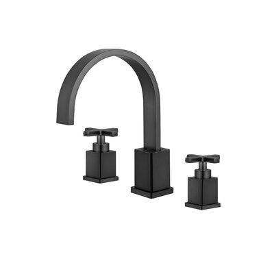 Widespread Double Handle Bathroom Faucet with Drain Assembly Finish: Oil Rubber Black