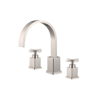 Widespread Double Handle Bathroom Faucet with Drain Assembly Finish: Brushed Nickel