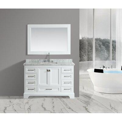 Saugatuck 54 Single Bathroom Vanity Set with Mirror Base Finish: White