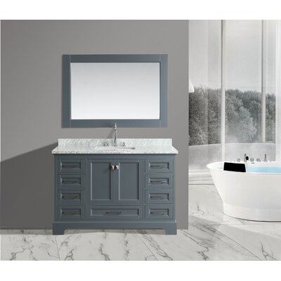 Saugatuck 54 Single Bathroom Vanity Set with Mirror Base Finish: Gray