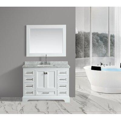 Saugatuck 48 Single Bathroom Vanity Set with Mirror Base Finish: White