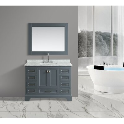 Saugatuck 48 Single Bathroom Vanity Set with Mirror Base Finish: Gray