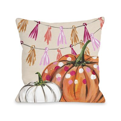 Tedford Pumpkin Tassles Throw Pillow Size: 18 x 18