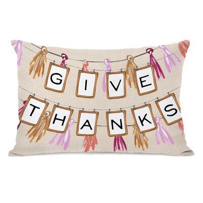 Give Thanks Banner Lumbar Pillow