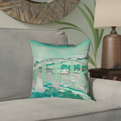 Enya Japanese Bridge Outdoor Throw Pillow Color: Green, Size: 16 x 16