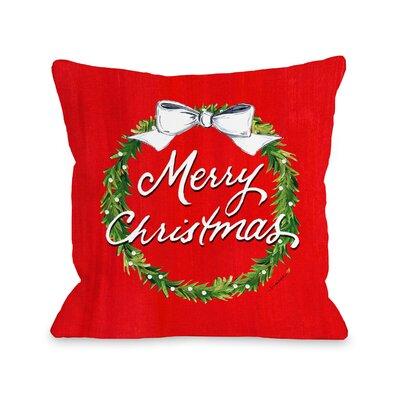 Merry Christmas Wreath Throw Pillow Size: 16 x 16