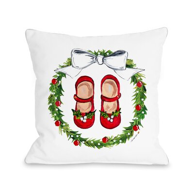 Mary Janes Wreath - Multi 16x16 Pillow by Timree Gold Size: 16 x 16
