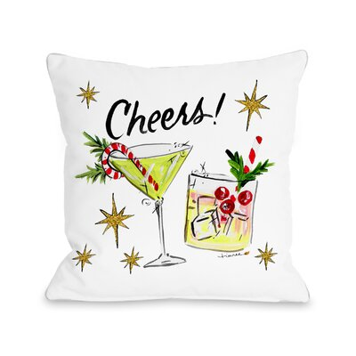 Christmas Cocktails Throw Pillow Size: 18 x 18