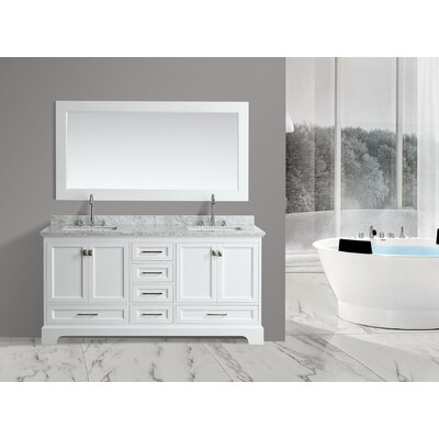 Saugatuck 72 Double Bathroom Vanity Set with Mirror Base Finish: White