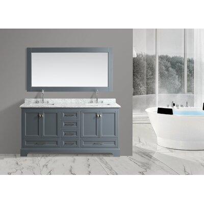 Saugatuck 72 Double Bathroom Vanity Set with Mirror Base Finish: Gray