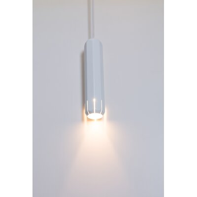 Brixton Spot 1-Light LED Mini Pendant Finish: White, Size: 8 H x 1.75 W x 1.75 D