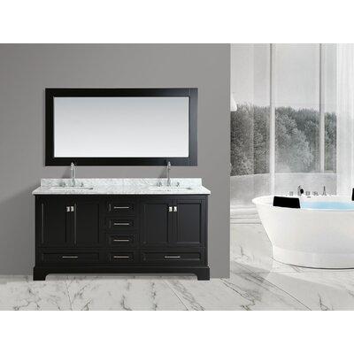 Saugatuck 72 Double Bathroom Vanity Set with Mirror Base Finish: Espresso