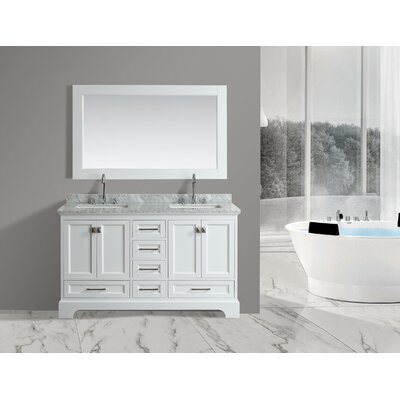 Saugatuck 61 Double Bathroom Vanity Set with Mirror Base Finish: White