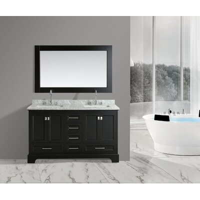 Saugatuck 61 Double Bathroom Vanity Set with Mirror Base Finish: Espresso