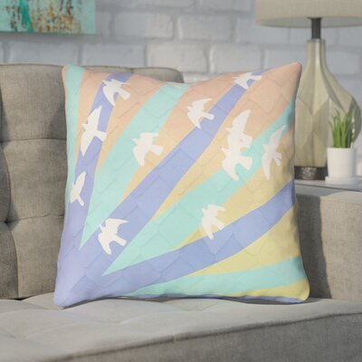 Enciso Birds and Sun Square Indoor Throw Pillow Color: Blue/Orange, Size: 14 x 14
