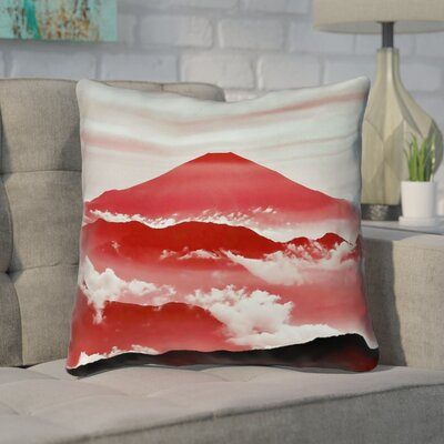 Enciso Fuji Cotton Throw pillow Size: 14 H x 14 W, Color: Red