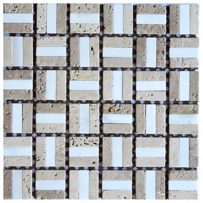Firenze 0.6 x 2 Marble Mosaic Tile in Beige/White