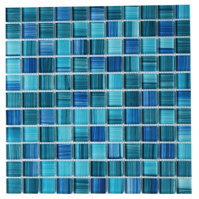 Alezio 1 x 1 Glass Mosaic Tile in Blue